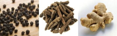 Black pepper, long pepper and ginger